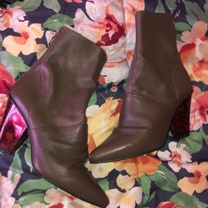 Dark grey leather booties